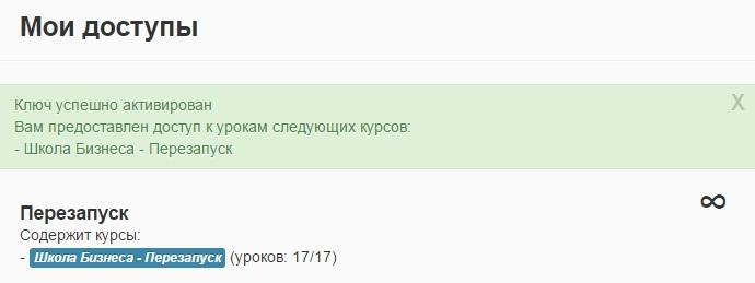 Школа Дмитрия Штейна - Активация доступа