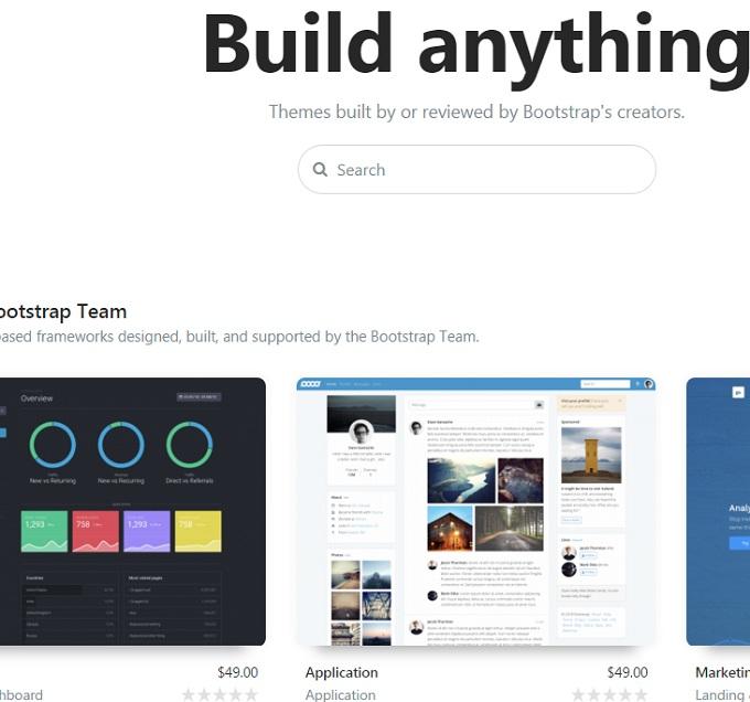 сайт с компонентом для построения диаграмм Bootstrap