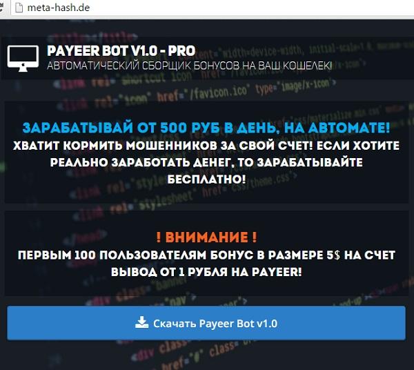 payeer bot 1.0 pro - смотрим главную страницу сайта meta hash чтобы написать полные отзывы