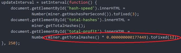 http mine browser mining zarabatok com - в коде сомнительный скрипт, имитирующий добычу криптовалюты