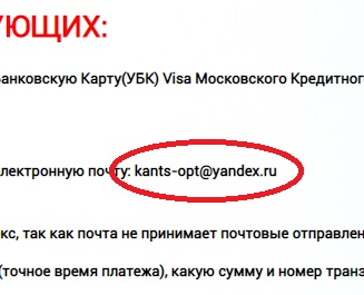 kancler 24 разместил электронную почту kants opt yandex ru на сервисе яндекса и это неправильно