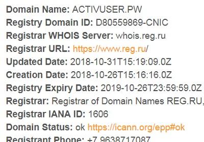 http activuser pw - смотрим когда был зарегистрирован сайт