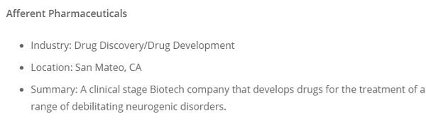 компания afferent pharmaceuticals на самом деле находится в сша