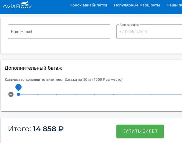 aviaboox предлагает выбрать багаж и просто добавляет по 1500 рублей за багажное место