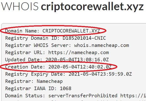 сайт operator e criptocorewallet xyz существует всего три недели