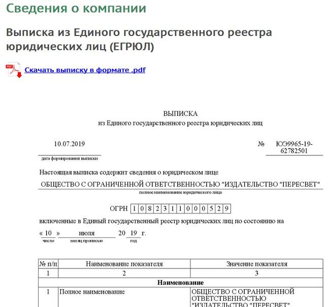 издательство ооо пересвет разместило о себе выписку со сведениями об организации