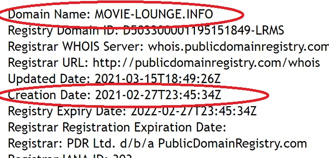 сайт movie lounge info создан в феврале 2021 года и существует всего месяц
