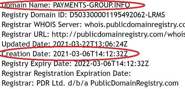 платёжная система зарегистрирована всего три недели назад и принадлежит мошенникам